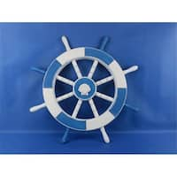 Light Blue and White Ship Wheel With Sea Shell 18 in. Decorative