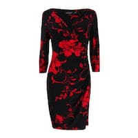 Lauren Ralph Lauren Women's Petite Printed Jersey Surplice Dress - Black