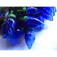 Set Of 50 Transparent Blue LED C7 Christmas Lights - Green Wire