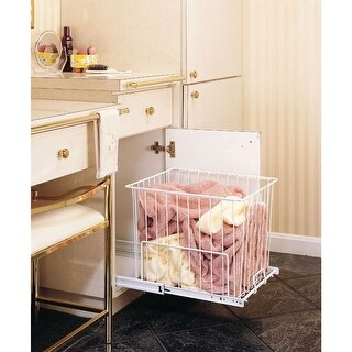 """Rev-A-Shelf HRV-1520 S HRV Series Pull Out 18"""" Deep Wire Hamper with Full-Extension Slides - White"""
