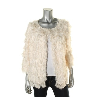 NY Collection Womens Fringe Faux Feather Jacket