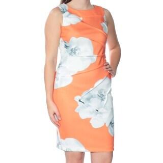 Womens Orange Floral Sleeveless Above The Knee Sheath Dress Size: 4