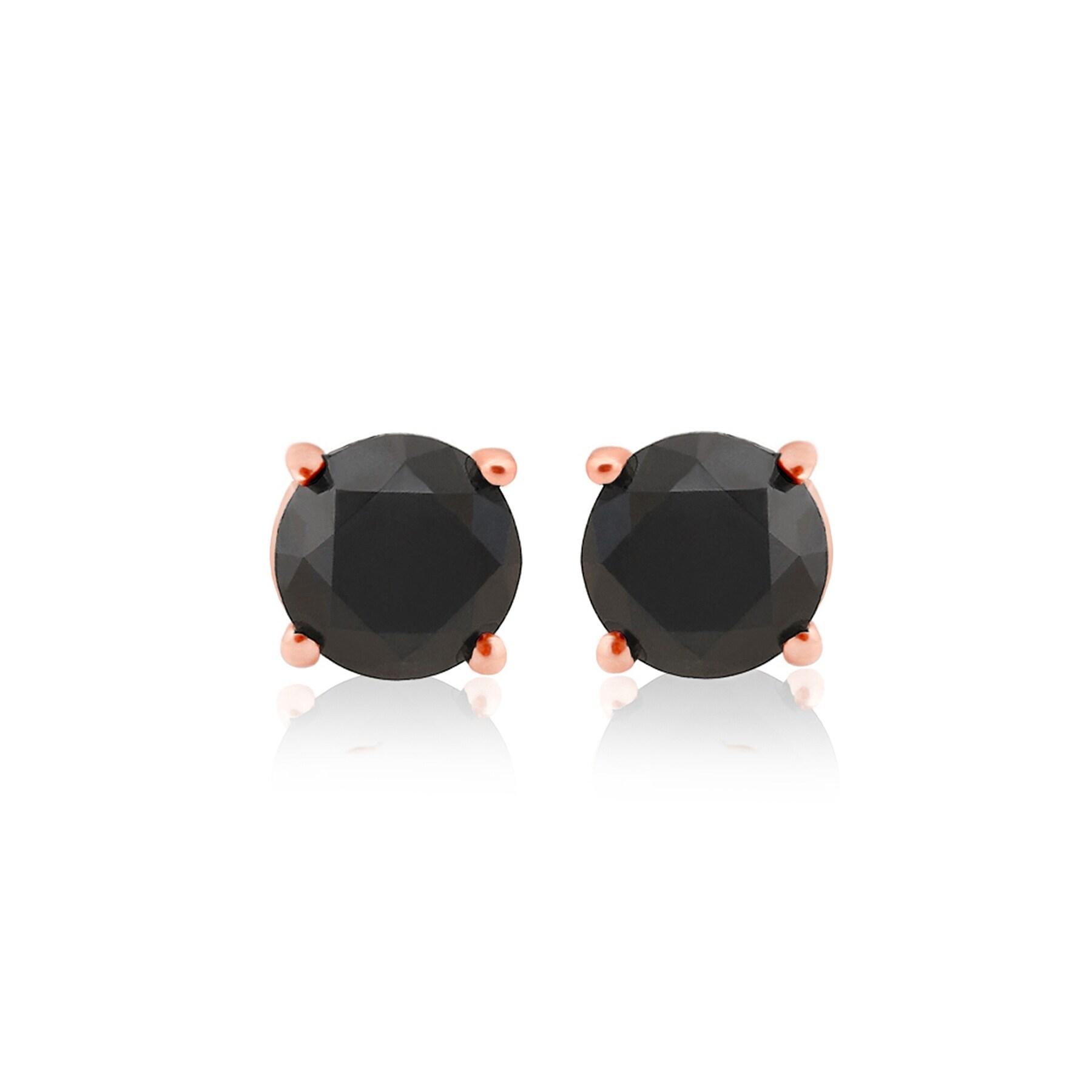 Best Selling, Round Brilliant Cut Genuine Black Diamond Screw Back Stud Earring - Thumbnail 0