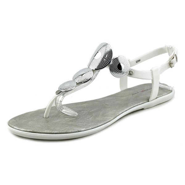 Bandolino Loocho Women Open Toe Synthetic White Thong Sandal