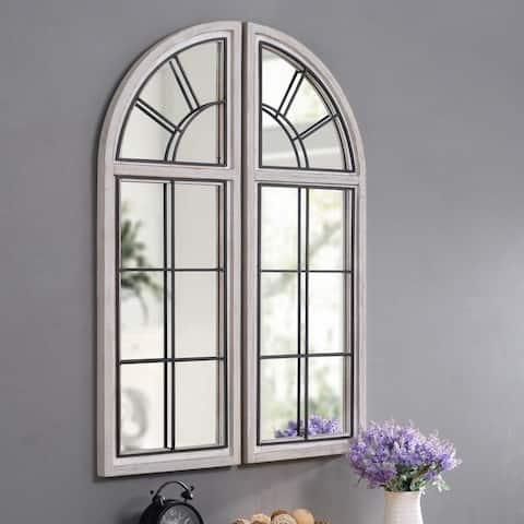 "Mindker Set of 2 Rustic Wall Mirrors - 42"" x 30"""