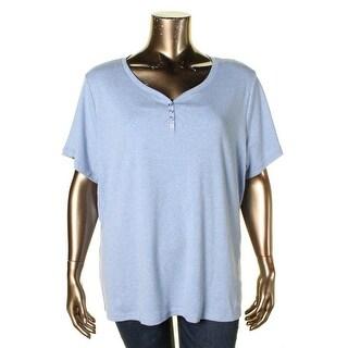 Karen Scott Womens Plus Henley Top Short Sleeve Cotton