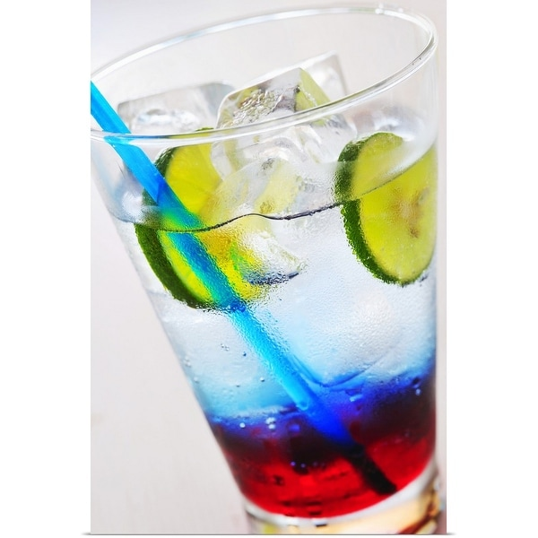 """Coloured soft drink with ice cubes and lime slices, close-up"" Poster Print"