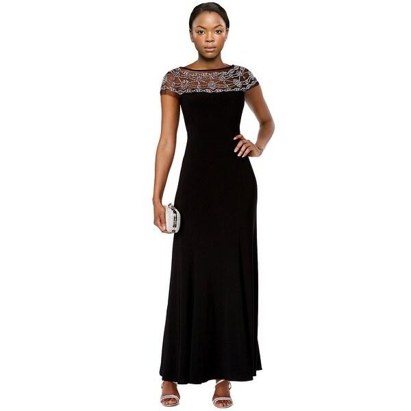 Shop R&M Richards Beaded Trim A-Line Evening Gown Dress Black - 6 ...