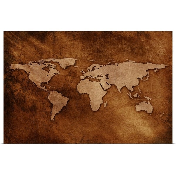"""""""World map on textured background"""" Poster Print"""
