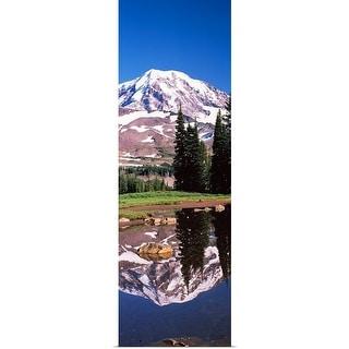 """Reflection of a mountain in a lake, Mt Rainier, Pierce County, Washington State,"" Poster Print"