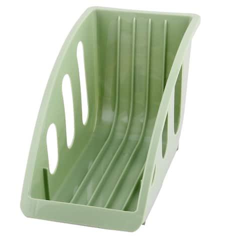 Kitchen Plastic 5 Slots Dish Plate Bowl Drying Storage Holder Organizer Green