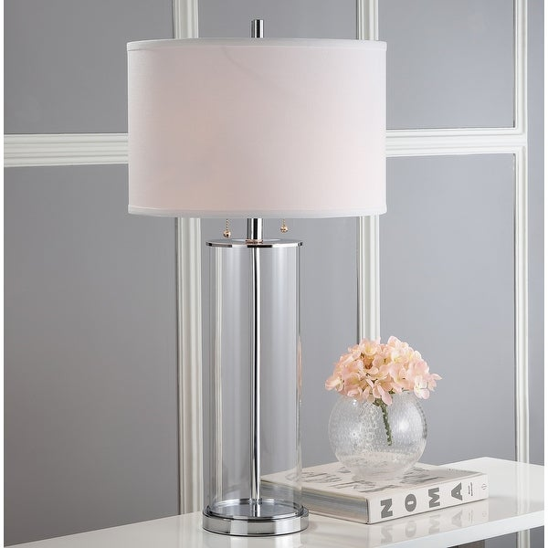 """Safavieh Lighting 31-inch Velma Clear/ Off-White Table Lamp (Set of 2) - 16"""" x 16"""" x 31"""". Opens flyout."""