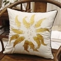 "Luxury Yellow Fish Embroidered Pillow 18""X18"" - Thumbnail 1"