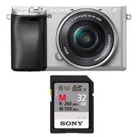 "Sony Alpha a6300 Mirrorless Digital Camera (Silver) with 3"" LCD and 32GB Card"