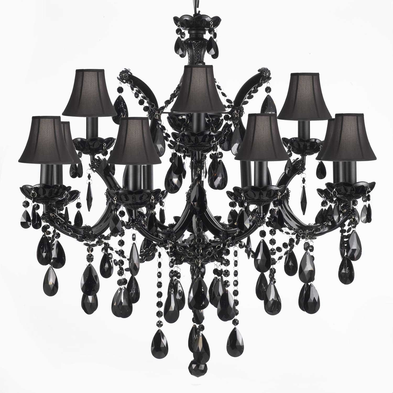 Jet Black Crystal Chandelier Lighting