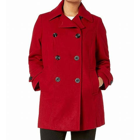 Anne Klein Women's Coat Red Size XL Double Breasted Notched Lapels