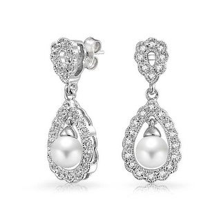 Bling Jewelry Imitation Pearl CZ Bridal Dangle Earrings Rhodium Plated