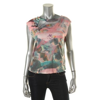 Zara W&B Collection Womens Printed Cut-Out Pullover Top - S