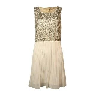 Maison Jules Women's Sequined Sleeveless Pleated Dress