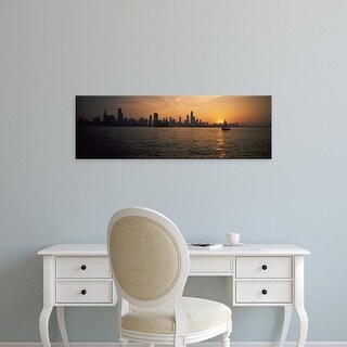 Easy Art Prints Panoramic Images's 'Silhouette of buildings at the waterfront, Navy Pier, Chicago, Illinois' Canvas Art