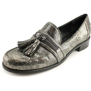 Stuart Weitzman Lezip Women Moc Toe Synthetic Silver Loafer