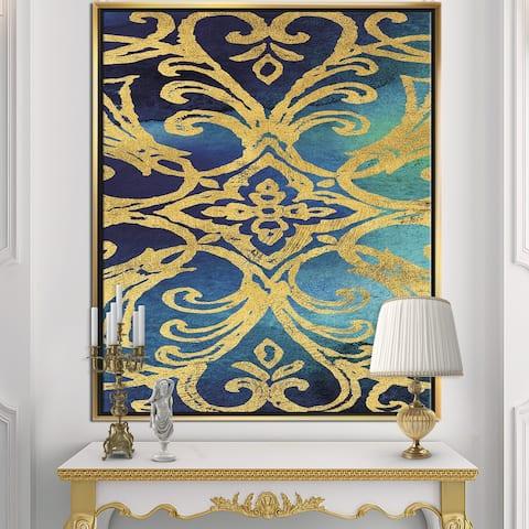 Designart 'metallic Glam Indigo Form I' Transitional Framed Canvas - Blue