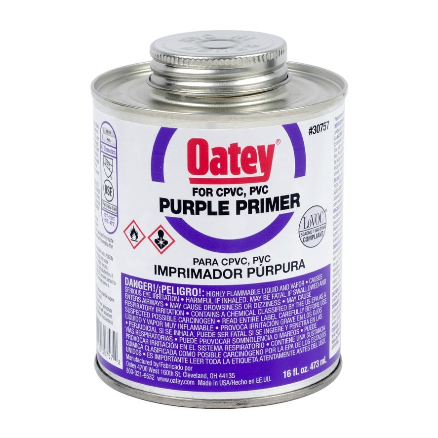 Oatey 30757 Purple Primer For PVC, CPVC, 16 Oz
