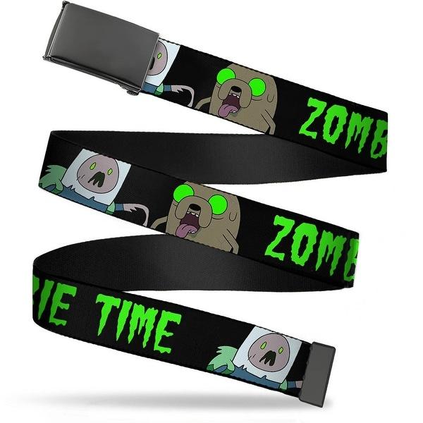 Blank Black Buckle Finn & Jake Zombie Time Black Green Webbing Web Belt