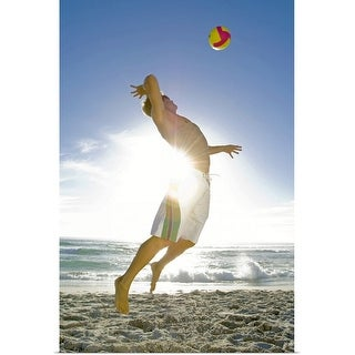 """""""Man playing volleyball on beach"""" Poster Print"""
