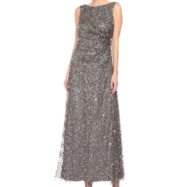 Adrianna Papell Women's Dress Silver Size 10 Gown Cowl Back Sequin. Opens flyout.
