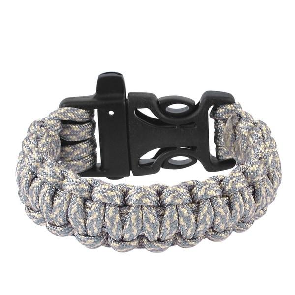 Unique Bargains Plastic Quick Release Buckle Emergency Survival Whistle Bracelet Gray