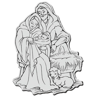 "Stampendous Cling Stamp 4""X6""-Manger Family"