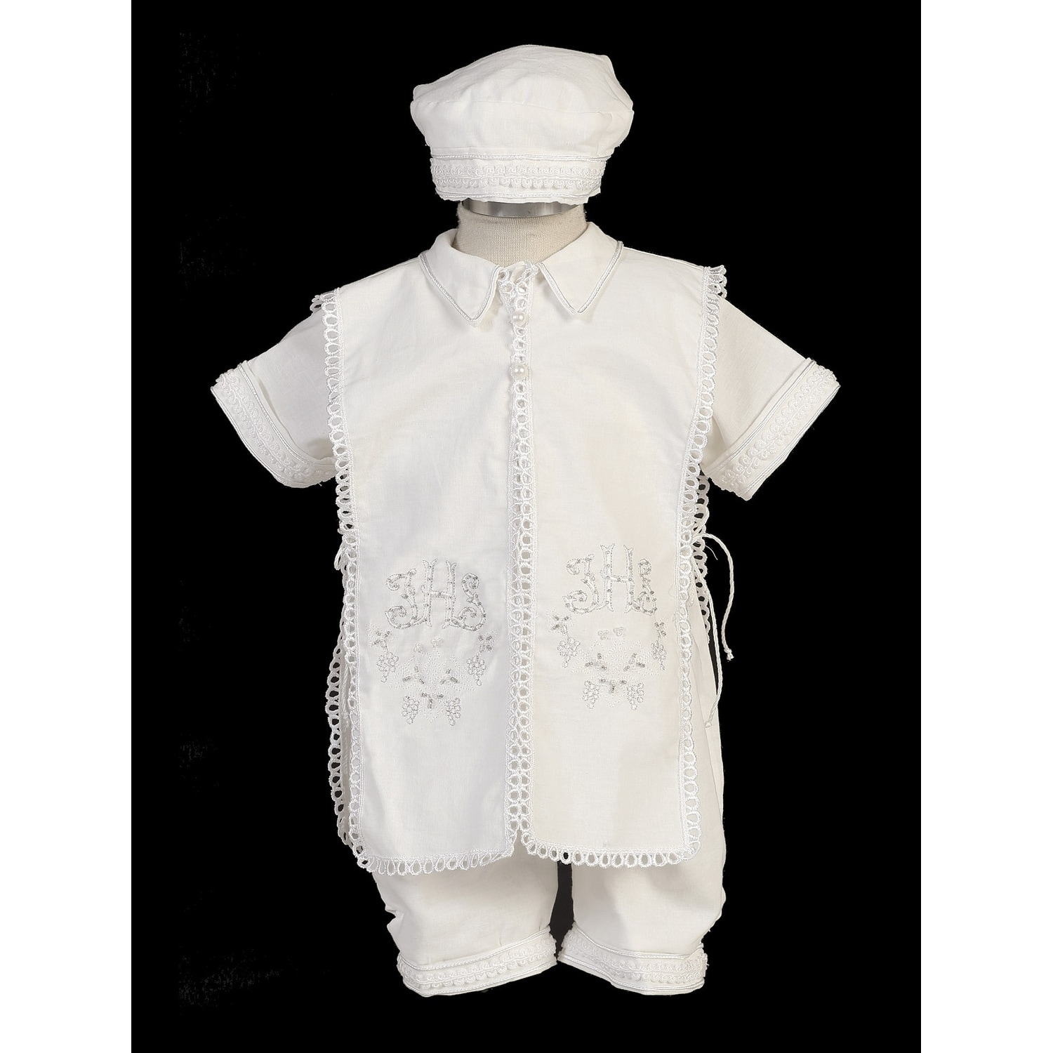 Short White Boys Celebration Christening Baptism Set with Hat