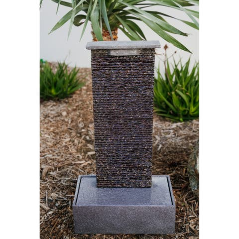 XBrand Free Standing Textured Water Fountain w/Pedestal, Indoor Outdoor Décor, 32.5 Inch Tall, Black