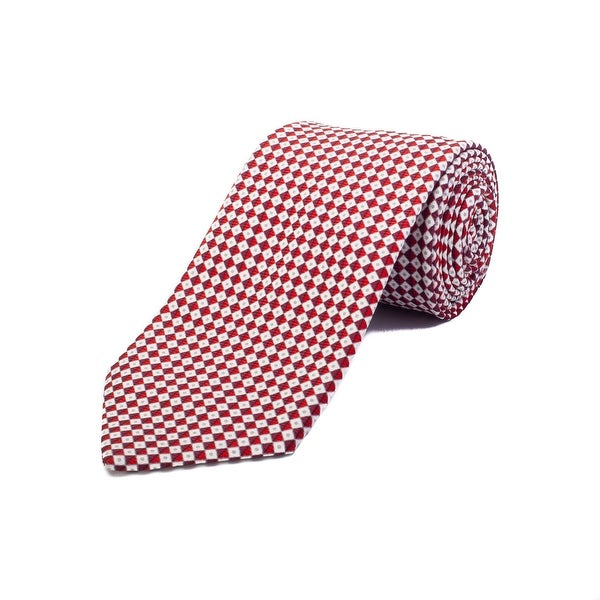 c5050267 Ermenegildo Zegna Men's Silk Geometric Pattern Tie Red - no size
