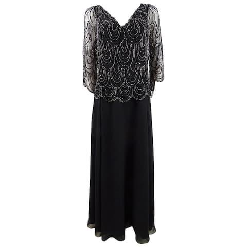 J Kara Women's Beaded Bodice Chiffon Gown (8, Black/Mercury)