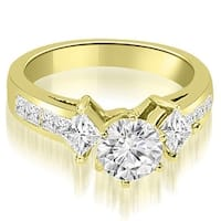 1.50 cttw. 14K Yellow Gold Channel Princess and Round Diamond Engagement Ring