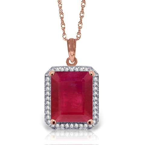 7.45 Carat 14K Solid Gold Gemstone Necklace Natural Diamond Ruby