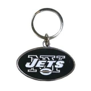 New York Jets Chrome Logo Cut Keychain