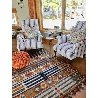 Hand-hooked Rust/ Blue Boho Wool Area Rug with Fringe - 5' x 7'6