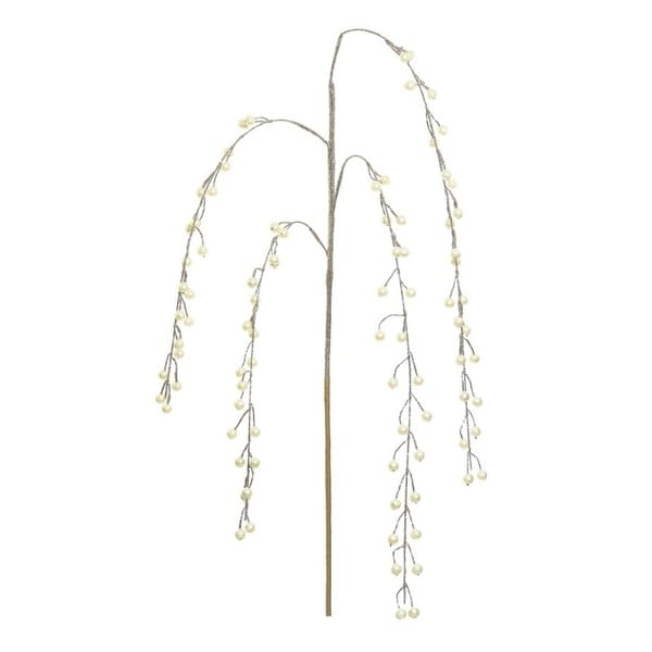 "40"" Glamour Time Golden Glitter Weeping Pearl Cascades Artificial Christmas Spray"