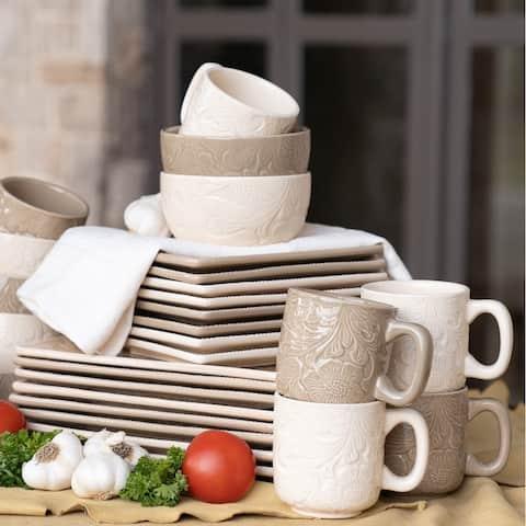 HiEnd Accents 16-Piece Savanah Dishes Set Taupe
