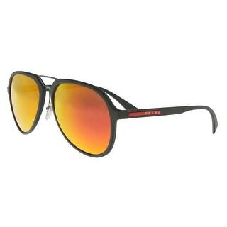 Prada PS 05RS UFI5M0 Dark Olive Rubber Aviator Sunglasses - no size