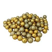 "96ct Vegas Gold Shatterproof 4-Finish Christmas Ball Ornaments 1.5"" (40mm)"