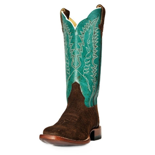 Cinch Western Boots Womens Square Toe Hippo Print Chocolate