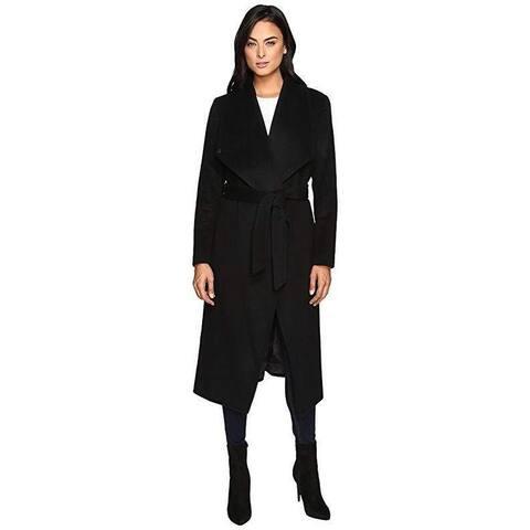 """Cole Haan Women's Signature 46"""" Draped Front Wrap Coat Black SZ 12"""