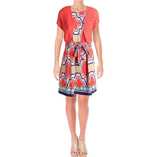 Signature By Robbie Bee Womens Dress With Cardigan Printed Sleeveless