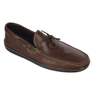 Tod's Solid Brown Leather Lined Rubber Sole Tie Moccasins