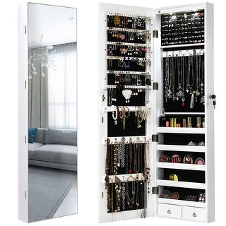 Link to Wall Door Jewelry Armoire Cabinet with Full-Length Mirror Similar Items in Bedroom Furniture