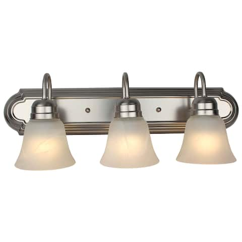 3 Light Vanity Lamp with Frosted Alabaster Glass - Brushed Nickel